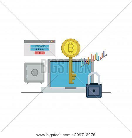 bitcoin key login closeup with laptop computer and safe vector illustration