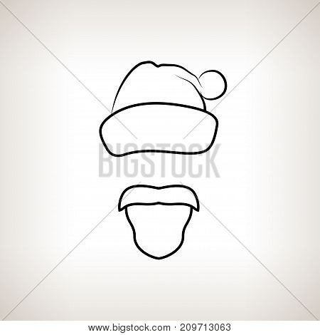 Santa Claus Face on a Light Background Santa Claus with a Beard Mustache and Hat with Pompon without a Face Christmas Decorations