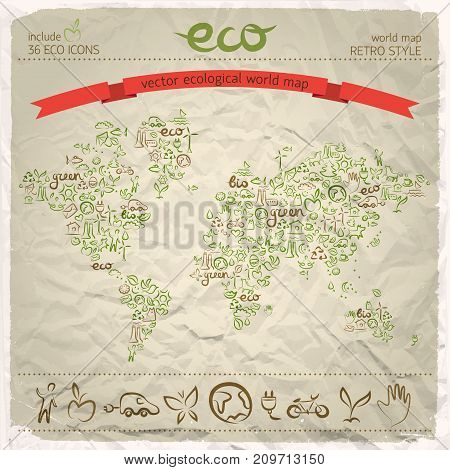 Environmental design concept with green line icons set in earth map on wrinkled paper background vector illustration