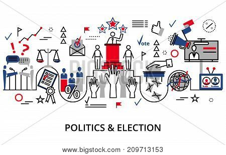 Concept of politics and election modern flat line vector illustration