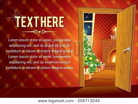 Christmas Background with Festive retro Interior with Fireplace, Tree, Gift Boxes and Lights. Greeting Christmas Card Template