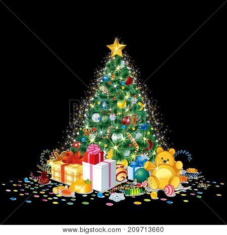 Glittering Christmas tree with colorful ornaments, balls isolated on black