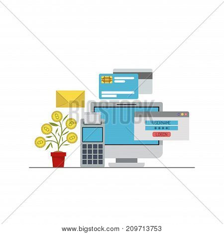 bitcoin growing with computer account and credit cards and calculator vector illustration