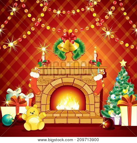Christmas Decoration. Festive Xmas Traditional Interior with Fireplace, Gifts and Pine Tree