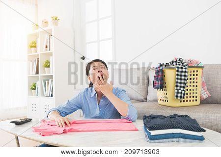 Beautiful Lady Making Housekeeping In Living Room