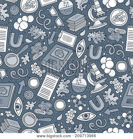 Cartoon cute hand drawn Science seamless pattern. Line art detailed, with lots of objects background. Endless funny vector illustration. Monochrome scientific backdrop.