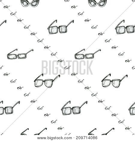 Different sunglasses types seamless pattern, hand drawn doodle style vector. Black and white sketch illustration. Diagonal lines wallpaper