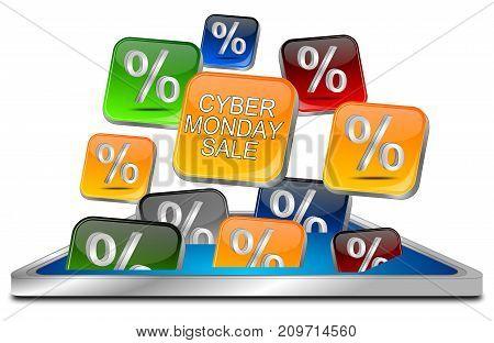 orange Cyber Monday Sale button - 3D illustration