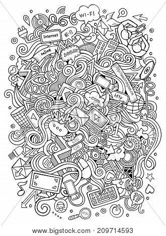 Cartoon cute doodles hand drawn social media illustration. Line art detailed, with lots of objects background. Funny vector artwork. Sketchy picture with internet theme items