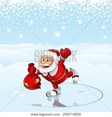 Funny Santa Claus with Sack of Gifts. Cartoon Vector illustration. Greeting Card Template