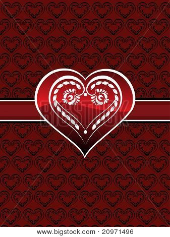 beautiful heart pattern background with isolated decorated heart