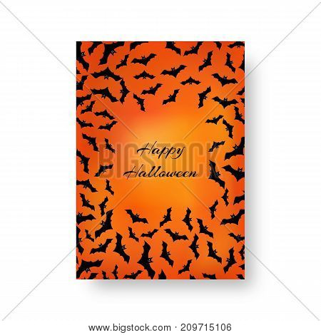 Scary cover of the catalog with bats for festive decoration for Halloween on the orange backdrop. Vector illustration.