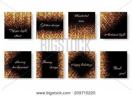 A collection of square postcards with golden rays and shiny sparkles for Christmas decoration. Festive backgrounds with light effects on a dark backdrop in vector format.