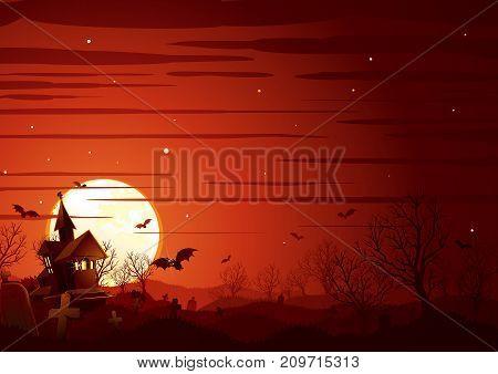 Halloween Landscape. Haunted House on Graveyard, Midnight Bare Tree Forest