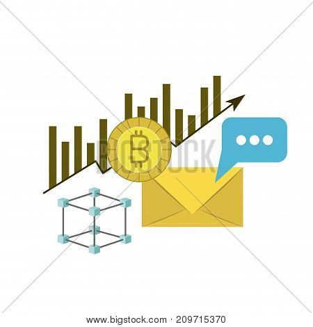 bitcoin statistics bars growing and mail envelope vector illustration