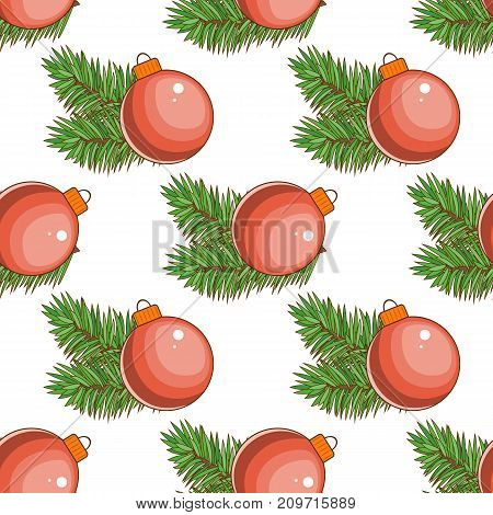Merry Christmas and happy New Year seamless pattern . A large red ball cartoon. Stock vector.