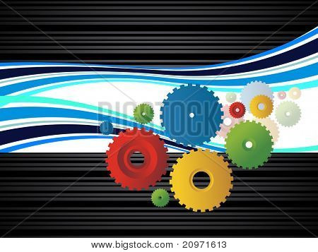 abstract corporate background with colorful cogwheel, vector illustration