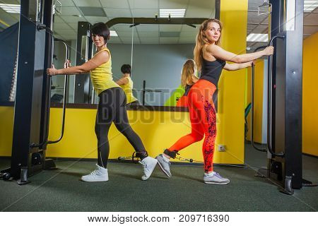 two young fitness woman execute exercise with exercise-machine Cable Crossover in gym, horizontal photo