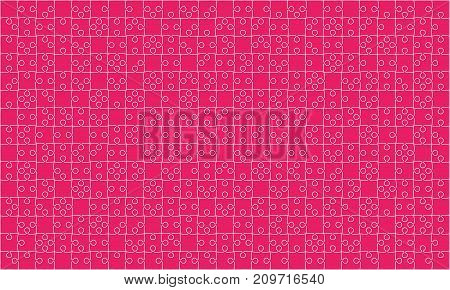 375 Pink Material Design Puzzles Pieces - Vector Illustration. Jigsaw Puzzle Blank Template or Cutting Guidelines. Vector Background.