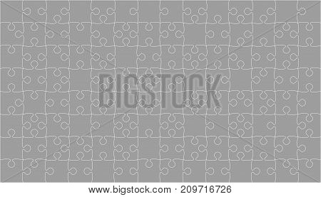 112 Grey Puzzles Pieces Arranged in a Square - Vector Illustration. Jigsaw Puzzle Blank Template or Cutting Guidelines. Vector Background.