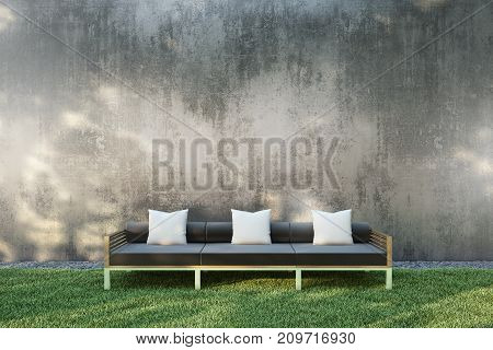 Sofa with pillow in the garden. 3D illustration.