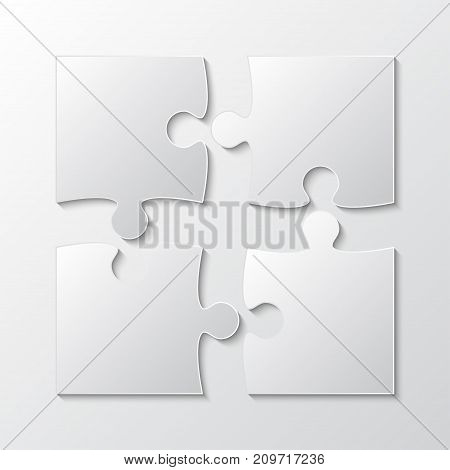 Four White Piece Jigsaw Puzzle Round Infographic Presentation. 4 Step Business Diagram. Four Section Compare Service Banner. Vector Illustration Template Shape.