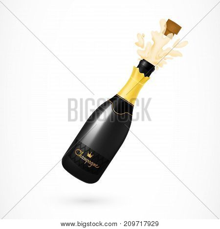 Illustration of champagne bottle with cork opening. New Year, party, victory. Celebration concept. Design element for greeting cards, banners, posters, leaflets and brochures.