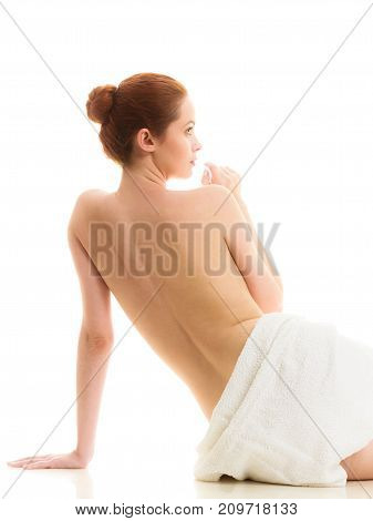 Sitting Naked Woman In White Towel