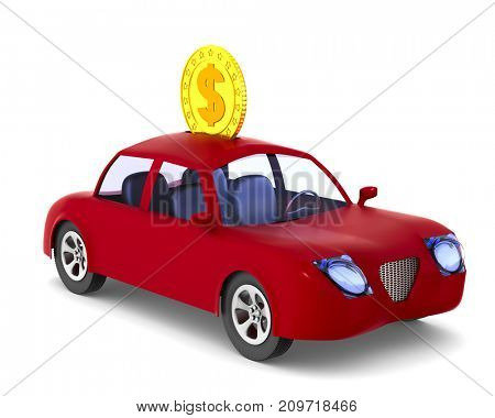 Moneybox. Red car on white background. Isolated 3D illustration