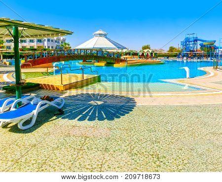 Sharm El Sheikh, Egypt - September 25, 2017: The view of luxury hotel Dreams Beach Resort Sharm 5 stars at Sharm El Sheikh, Egypt on September 25, 2017