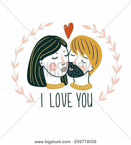 Valentine'S Day vector card. Lovely girl and boy kiss in scandinavian style with lettering - 'I love you'.