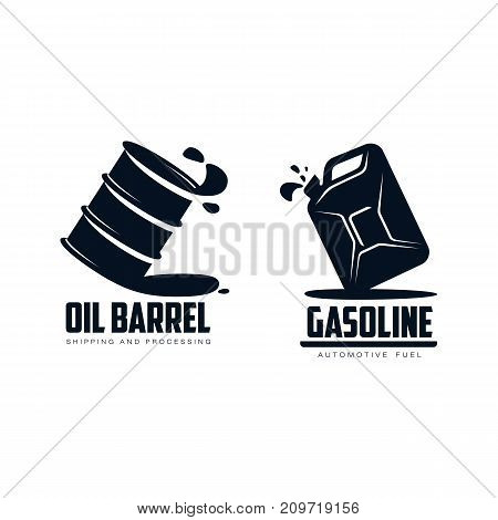 vector oil tin barrel, canister set simple flat icon pictogram isolated on a white background. Gas oil fuel, energy power industry symbol, sign silhouette