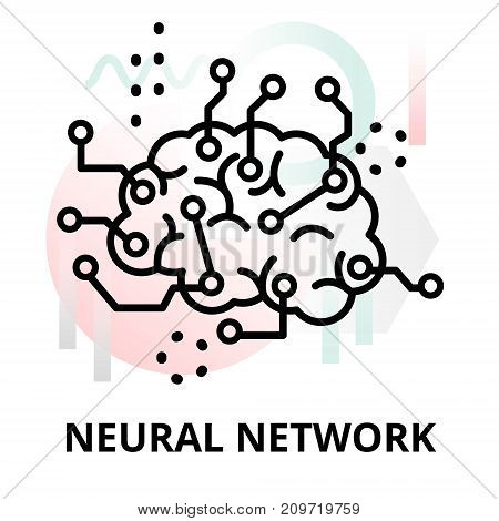 Abstract icon of future technology - neural network on color geometric shapes background for graphic and web design