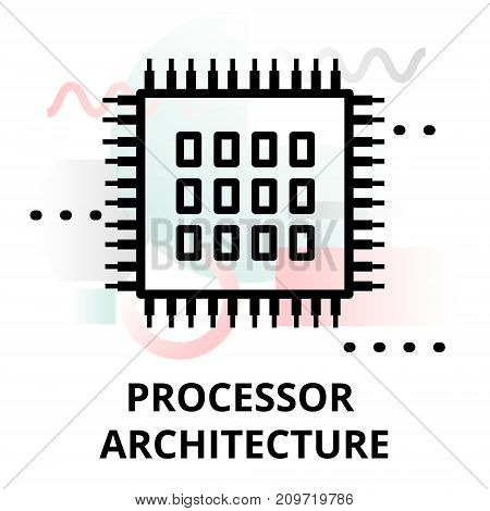 Abstract icon of future technology - processor architecture on color geometric shapes background for graphic and web design