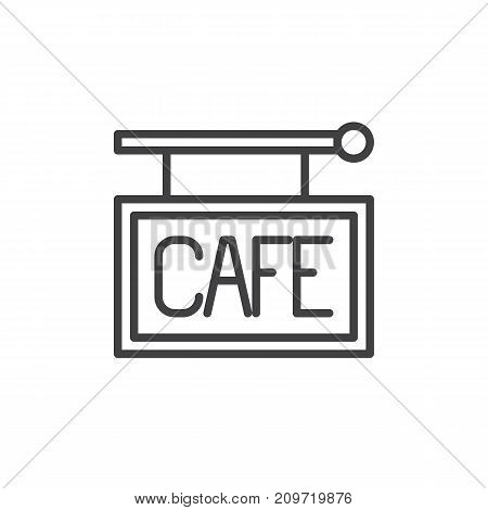 Cafe sign line icon, outline vector sign, linear style pictogram isolated on white. Symbol, logo illustration. Editable stroke