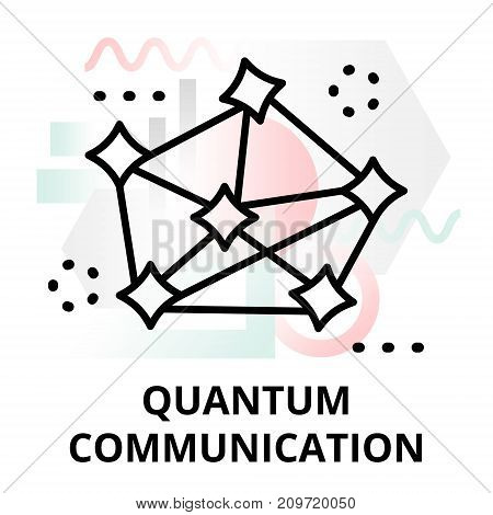 Abstract icon of future technology - quantum communication on color geometric shapes background for graphic and web design