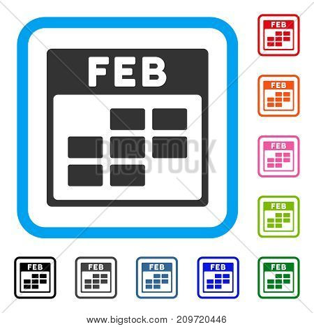 February Calendar Grid icon. Flat grey iconic symbol in a light blue rounded square. Black, gray, green, blue, red, orange color additional versions of February Calendar Grid vector.