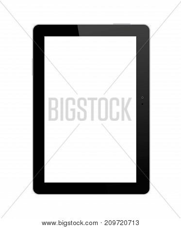 Black tablet PC on white background. Realistic vector illustration for graphic and web design