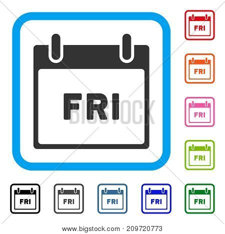Friday Calendar Page icon. Flat grey pictogram symbol inside a light blue rounded rectangle. Black, gray, green, blue, red, orange color additional versions of Friday Calendar Page vector.