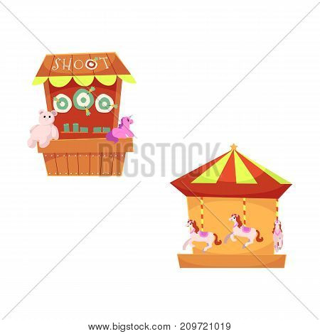 vector flat amusement park objects icon set. Merry go round, Funfair carnival vintage flying horse carousel and shooting gallery with toys - awards. Isolated illustration on a white background.