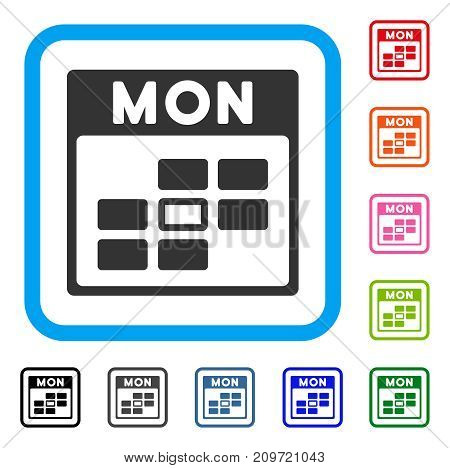 Monday Calendar Grid icon. Flat grey iconic symbol in a light blue rounded rectangle. Black, gray, green, blue, red, orange color variants of Monday Calendar Grid vector.