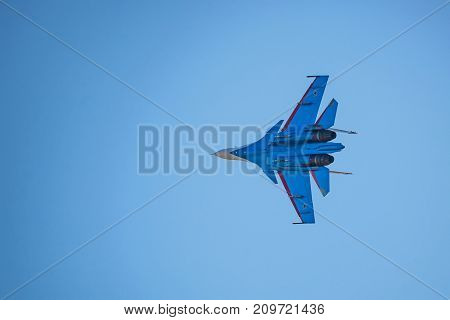 ROSTOV-ON-DON, RUSSIA - AUGUST, 2017: Russian strike fighter Sukhoi Su-30SM from Russian Knights team flies
