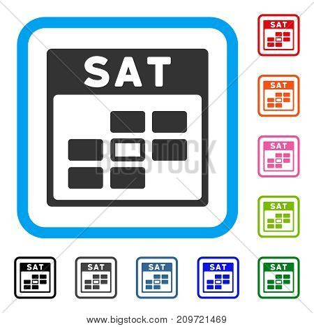 Saturday Calendar Grid icon. Flat gray iconic symbol inside a light blue rounded squared frame. Black, gray, green, blue, red, orange color versions of Saturday Calendar Grid vector.
