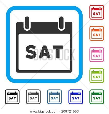 Saturday Calendar Page icon. Flat grey iconic symbol in a light blue rounded squared frame. Black, gray, green, blue, red, orange color additional versions of Saturday Calendar Page vector.