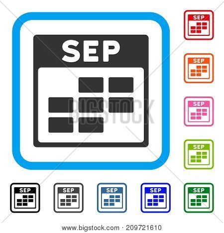 September Calendar Grid icon. Flat gray pictogram symbol inside a light blue rounded squared frame. Black, gray, green, blue, red, orange color additional versions of September Calendar Grid vector.