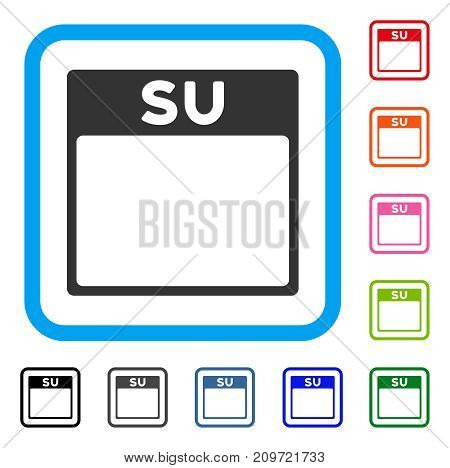 Sunday Calendar Page icon. Flat grey iconic symbol inside a light blue rounded rectangle. Black, gray, green, blue, red, orange color additional versions of Sunday Calendar Page vector.