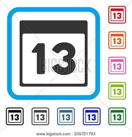 Thirteenth Calendar Page icon. Flat grey pictogram symbol inside a light blue rounded square. Black, gray, green, blue, red, orange color variants of Thirteenth Calendar Page vector.