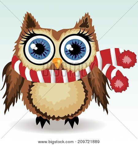 A Little Cute Owl In A Red And White Scarf With A Pompon, A Winter Owl, Shelter From The Cold