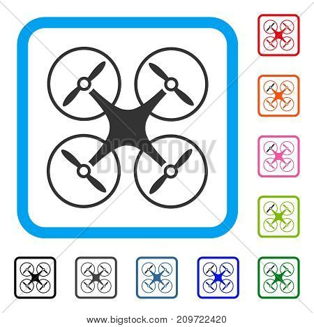 Air Copter icon. Flat gray iconic symbol inside a light blue rounded rectangle. Black, gray, green, blue, red, orange color additional versions of Air Copter vector.