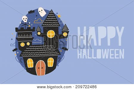 Happy Halloween horizontal holiday banner with gloomy haunted castle, funny ghosts and bats flying against dark starry night sky on background. Creepy cartoon scene. Festive vector illustration